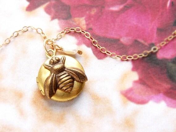 Bee locket necklace, Bridesmaid jewelry, bee charm locket, honey bee, Be Mine LOVE bug tiny gold bee locket necklace