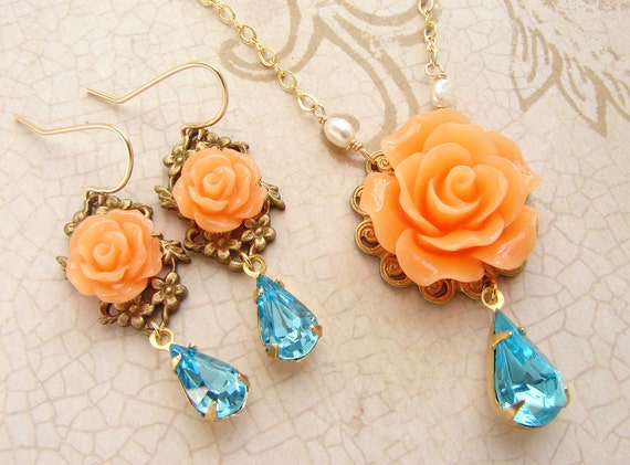 bridesmaid jewelry, Peach aqua rose wedding party jewelry, orange rose aqua rhinestone bridal wedding bridesmaid necklace