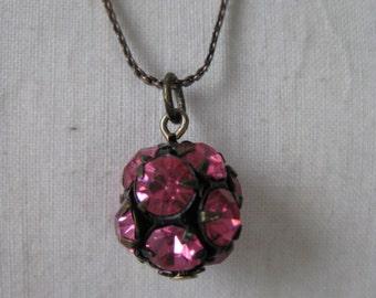 Pink Rhinestone Bronze Necklace Vintage Pendant