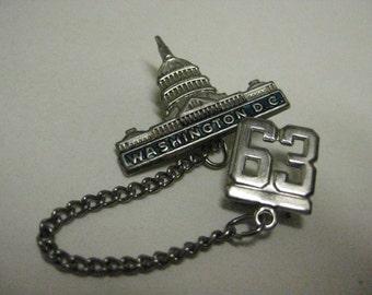 Washington D C Brooch Capital Building Silver Pin 1963