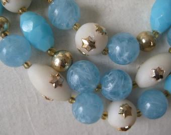 Blue White Gold Star Necklace Three Strand Choker Vintage