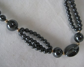 Hematite Bead Necklace Vintage Gray