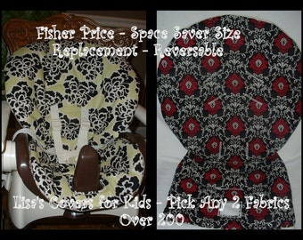 Replacement High Chair cover - Reversible  - Space Saver - VALUE - Lisa's covers for kids- pick 2 cotton fabrics