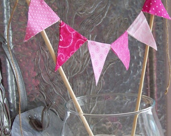 Pink Fabric Bunting  -Handmade Cake Bunting -Birthday Party Decor - Cake Topper -Pie Topper -Mini Bunting