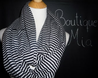 PERFECT GIFT - Infinity SCARF - Soft Jersey Knit - Black and White Stripe - by Boutique Mia