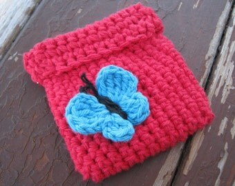 Crochet Coin purse, pinch pouch with squeeze flex frame