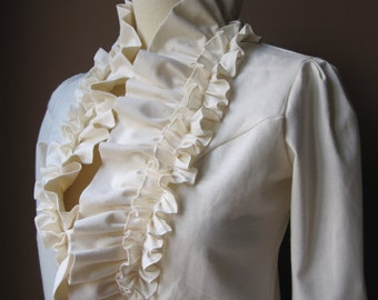 Ivory - Handmade Dress Coat Jacket with Ruffles in Unbleached Cotton - Made to Order with Your Measurements