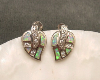 Sterling Opal and CZ Earrings E5102