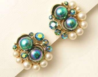 Vintage Earrings Stunning Pearl Carnival Glass E5401
