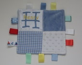 personalised patchwork taggy blanket