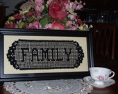 Victorian crochet  Family Name Doily Great heirloom personal gift