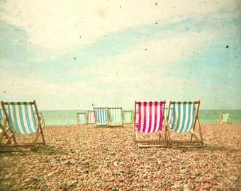 Beach Photography, Seaside Art, Beach House Decor, Deck Chairs, Ocean, Nautical - Deckchairs