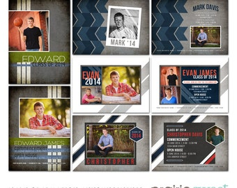 Masculine Graduation Announcements for Guys - Photoshop Templates for Photographers - Mark Collection - Set of 8 PSD Files - CS2006