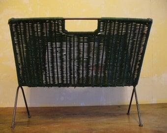 Mid Century Folding Green Wicker Magazine Holder
