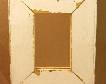 AUTHENTIC Vintage Reclaimed 4x6 Shabby WHITE Chic Wood Framed Mirror S1130-13