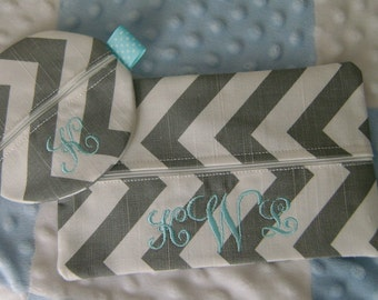 Chevron Pacifer and Wipes Case with Monogram