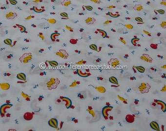 Fun in the Sky- Vintage Fabric Whimsical Juvenile Primary Rainbows Moon Birds Balloons