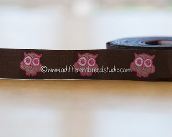 2.75 yards Pink Owls  -  Vintage Fabric Trim Ribbon Embroidered Mod Juvenile 70s New Old Stock