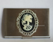 Miss Skeleton Stainless Steel Business Card Case - Ivory Black Zombie Lady Gothic Cameo - Made in USA stamping