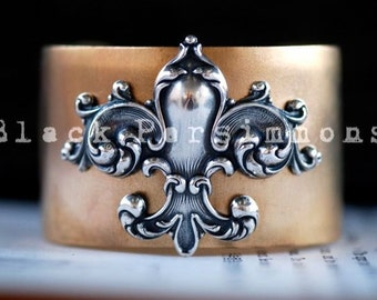 OOAK - Fleur-de-lis Cuff - Antique Sterling Silver Plated Brass  - Made in USA Brass Components - SOLDERED Riveted