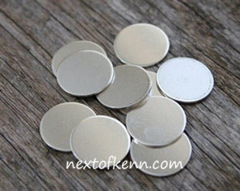 SALE - 10 pk 5/8 inch 20 gauge Sterling Silver disc - Hand Stamped Jewelry Supplies