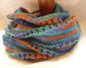 Hand knit cowl, blue, green brown cowl, knit vegan cowl, cotton cowl