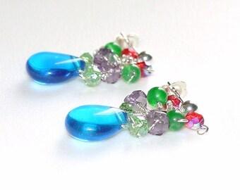 Colorful Gemstone Earrings / Blue Quartz / Purple Amethyst / Green Aventurine / Genuine Gemstones / Multicolored / Fun / Post Earrings