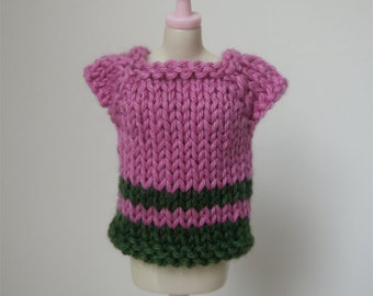SALE - Blythe Top - Pink and Green Short Sleeved Sweater