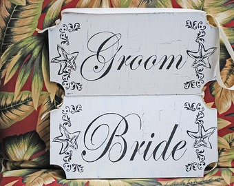 Beach Wedding Signs-  BRIDE and Groom or Mr and Mrs-  REVERSIBLE with Thank You or Just Married- set of 2- 12x6