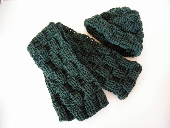 Scarf Hat Combo Set Dark Sage Pine Green Mens Womens Crochet Muffle...