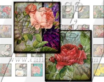 Grunge Roses - Instant Download Digital Collage Sheet - .75x.83 Scrabble Tile Size 995
