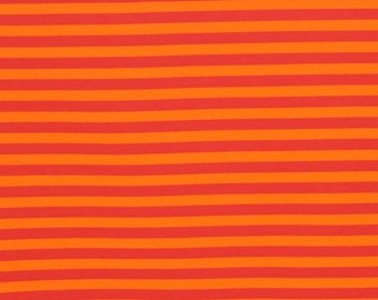 Knit Orange Stripes 1 yard jesrey lycra spandex