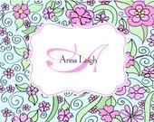 Custom personalized notecards monogram stationery original designed flower background elegant notecards wedding bridal thank you graduation