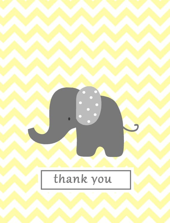 note card baby thank you notes yellow chevron elephant thank you
