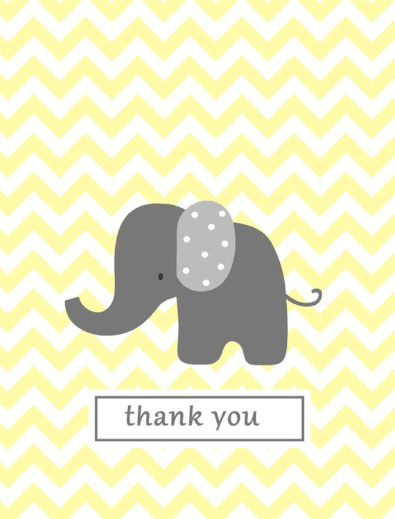 you notes yellow chevron elephant thank you stationery baby shower