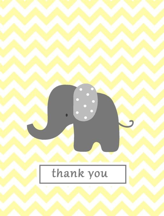 yellow chevron elephant thank you stationery baby shower gift on etsy