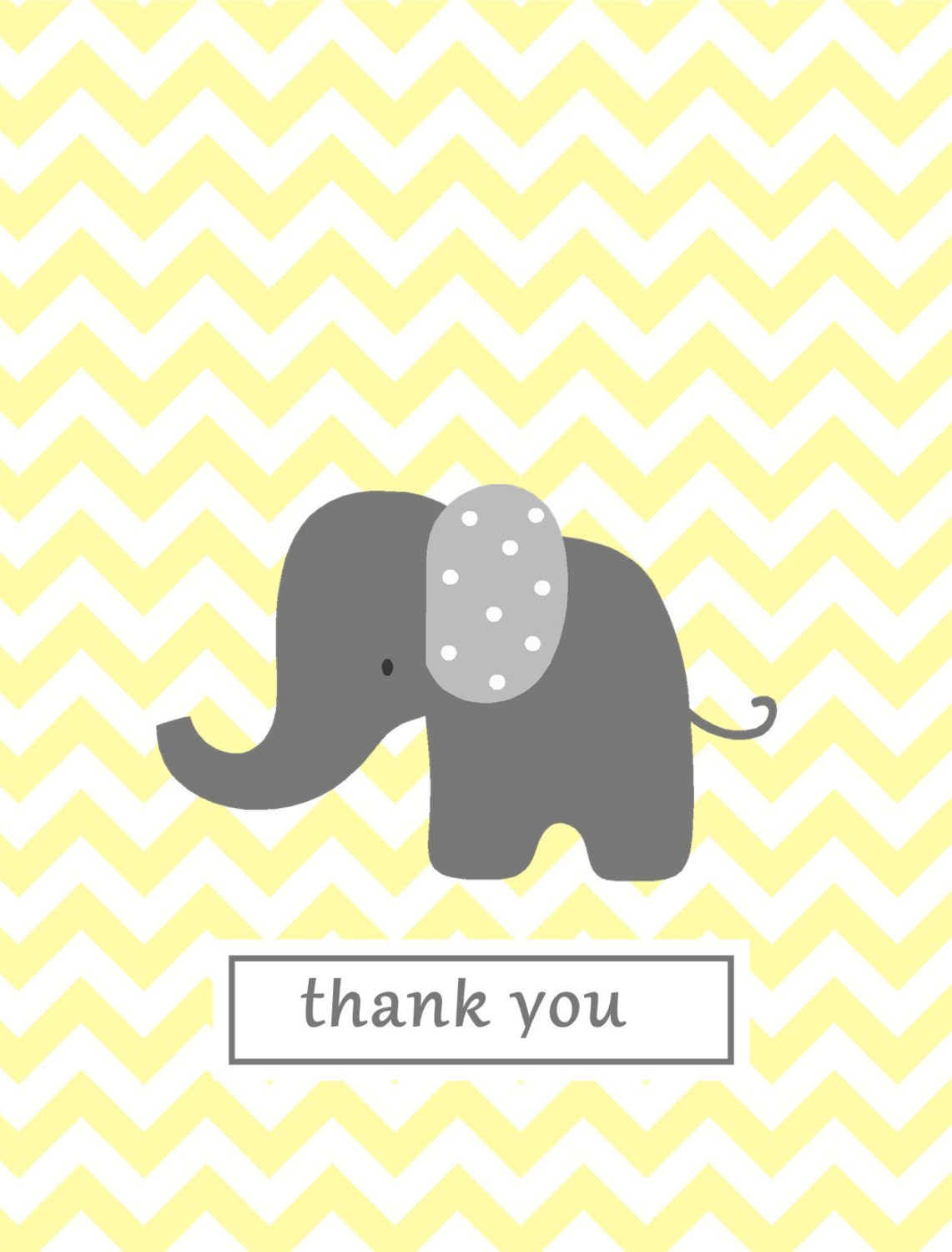 Baby Gift Thank You Note : Chevron note card baby thank you notes yellow by gracieandco