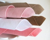 Wool Felt, Fabric Assortment, Pink and Brown, 8x12 Inch Sheets, DIY Craft Supply, Beige, Brown, White, Light Pink, Carnation, Pastel, Soft