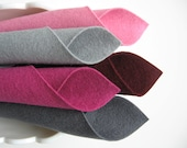 100% Wool, Felt Fabric Set, Bucket of Berries Color Story, Mulberry, Lavender Pink, Grey, Merlot, Slate, Felt Pattern Supply, 1mm Merino