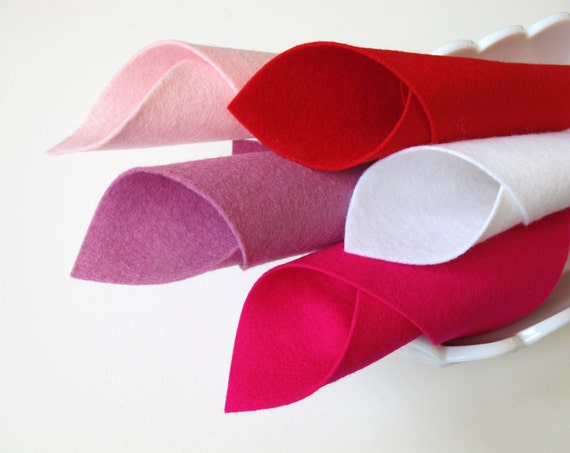 Wool Felt Set, Five Sheets, 8 x 12 Inches, Have a Heart Color Story, Valentine Set, Red, Light Pink, Rose Pink, White, Cerise, Felt Hearts
