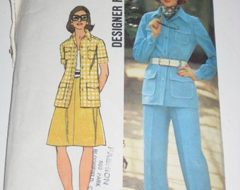 Vintage (1973) Simplicity Sewing Pattern - Pants Suit, Skirt, Jacket - for Sewing or Crafting