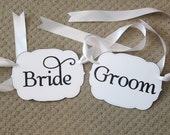 READY TO SHIP Bride & Groom Chair Signs