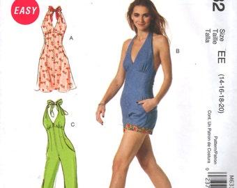 McCalls 6332 Misses Monroe Style Halter Dress Jumpsuit Romper Pattern Womens Sewing Size 14 16 18 20 Bust 36 38 40 42 OR 4 6 8 10 12 UNCUT