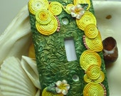 Swirls and Flowers Polymer Clay Light Switch Plate Cover