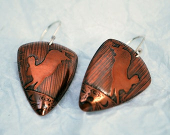 Hare Triangle Shape Copper and Silver Earrings