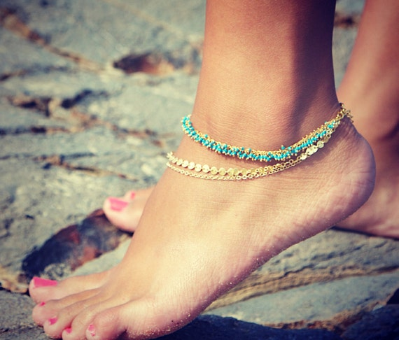 LOVMELY ANKLET- triple chain Turquoise or Coral anklet