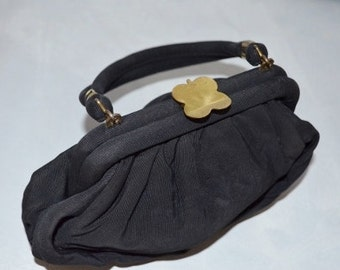 1940s 50s Wristlet Purse with Novelty 4 four leaf Clover Clasp.  Black Sculptural Rayon. Small Handbag.
