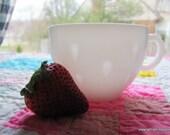 Vintage Pair of 1950s Hazel Atlas White Milk Glass Cups in Dogwood Strawberry Seed Pattern