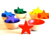 Eco Friendly Wooden Toy, Sorting Stars and Bowls -   Educational Waldorf Toy
