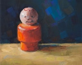 Small Original Oil Painting by Kathleen Coy. Fisher Price Boy. Realism.